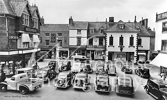 Classic black and white picture of the Market Place c1950